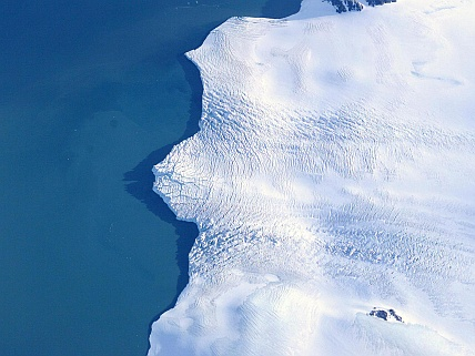 Antarctica's Larsen Ice Shelf, viewed from NASA's DC-8 aircraft in 2004, is one target of the 2009 Operation: Ice Bridge Antarctica campaign. Credit: NASA/Jim Ross