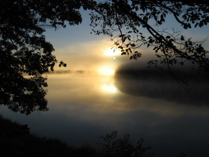Morning on the Penobscot River near the Penobscot Experimental Forest, Howland, Maine.   Photo by John Lee.