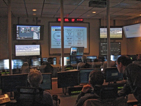 Global Hawk operations center during flight