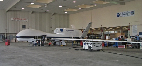 Global Hawk in Dryden hangar on March 8