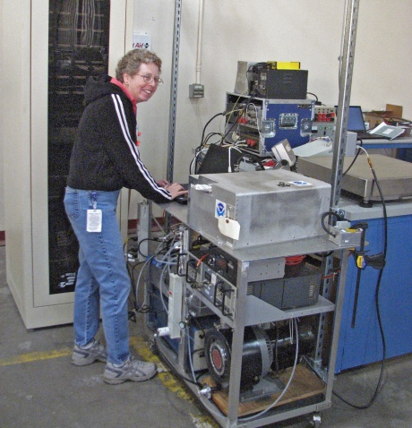 Laurel Watts tests the NOAA ozone instrument.