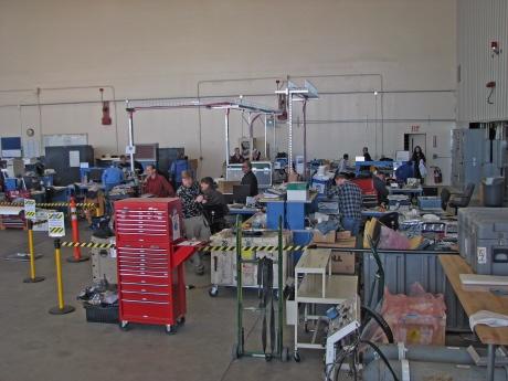 scientists working in Dryden hangar