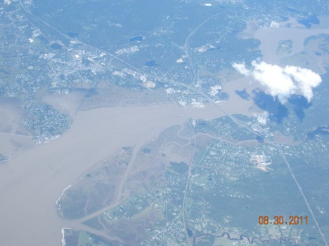The Hudson River as seen from the P3 on August 30.  Two days after Hurricane Irene blew across the region, the rivers are high and full of mud and sediment. .