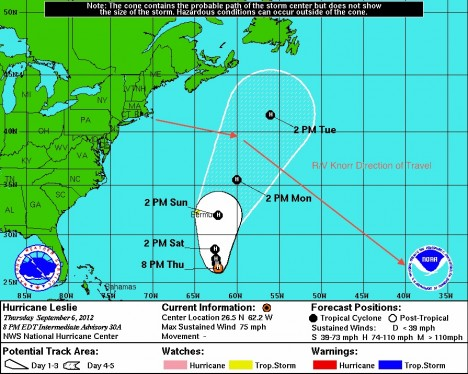 The Knorr's new track to avoid Hurricane Leslie.