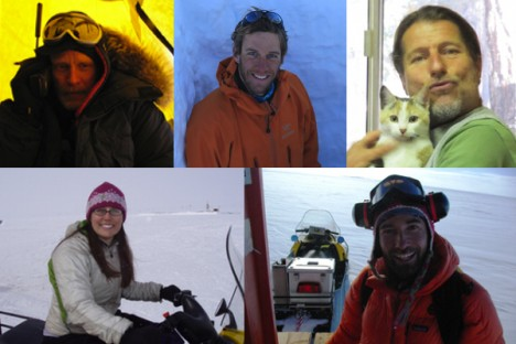 From top left, clockwise: Rick Forster, Ludo Brucker, Jay Kyne (his furry friend won't come to Greenland), Clement Miege and Lora Koenig.