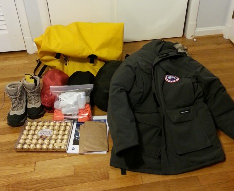 Some of my gear, before packing.