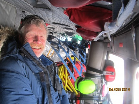 Rick loaded in helicopter to head back to Kulusuk after a successful field campaign.