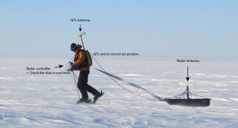 Here is the radar system in action, with Ludo pulling the sled. It can be a pretty tiring job with the wind and the cold. The balaclava was an absolute must to protect your face from the freezing temperatures.
