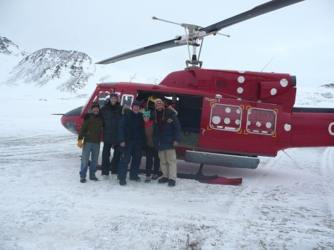 Our team in front of the helicopter.