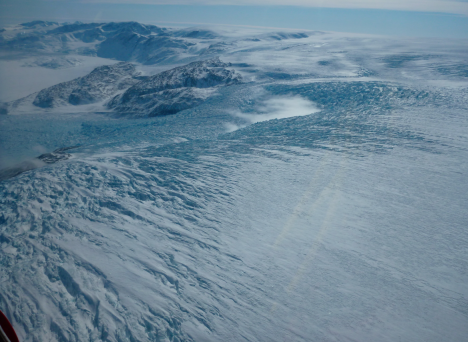 Seeing the transition between the flat ice sheet and the fast flowing outlet glaciers.