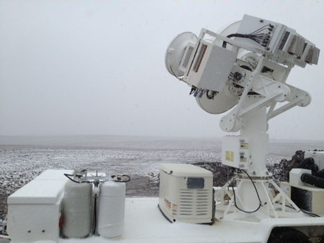 The NASA D3R radar looking over an Iowa field lightly dusted with snow.