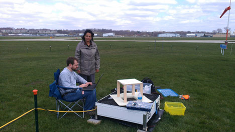 Patrick Gatlin (NASA/MSFC) and Merhala Thurai (Colorado State Univ.) perform calibration tests on a NASA two-dimensional video disdrometer (2DVD).