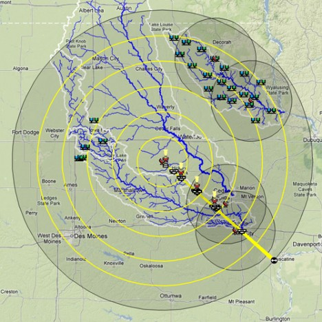 Map of field locations of IFLoodS instruments. The NPOL and D3R radars are located dead center and a ray of disdrometers and rain gauges stretches southeast toward Iowa City in the bottom right. Other rain sensors are distributed throughout the Turkey River basin in the north east and the south fork of the Iowa river west of Traer. Credit: Iowa Flood Center