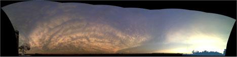 Panorama of wavy mammatu clouds