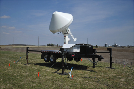 April 30, 2013, Calmar site: The XPOL installation at Calmar went smoothly enough. It was very windy, but sunny, with mild temperatures. For the follow-up installation of the communications, we dealt with very windy conditions and ice-covered surfaces. Credit: Iowa Flood Center