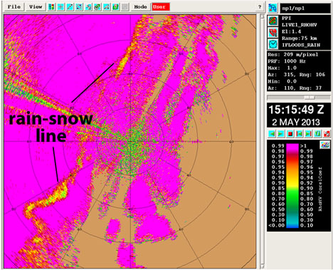 This radar image combines two measurements to show what the mixture of liquid and ice is in the precipitation. Bright pink is liquid rain. Yellow to red shows that snow and ice are mixed with the rain. The line of this rain-snow mix stretches from the southwest (bottom left) to the northeast (top right) of the NPOL radar. Credit: NPOL radar / NASA
