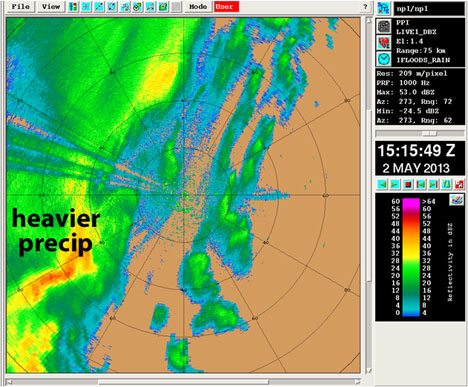 May 2, 2013. A radar image similar to what you'd see in a weather report. Precipitation appears in colors ranging from light rain (blue to green) to heavier precipitation (yellow to red). Credit: NPOL radar / NASA