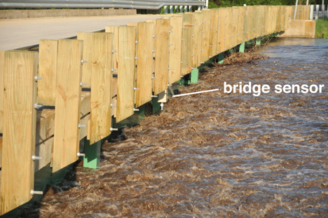 May 20, 2013. Bridge sensors like this one on the Little Cedar River measure the height of the water below it. Credit: Iowa Flood Center