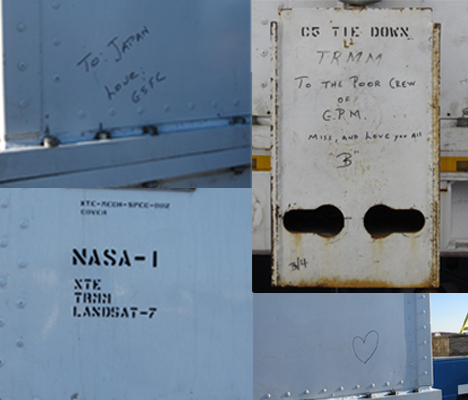 Notes written on the side of the GPM shipping container. Credit: NASA / Ellen Gray