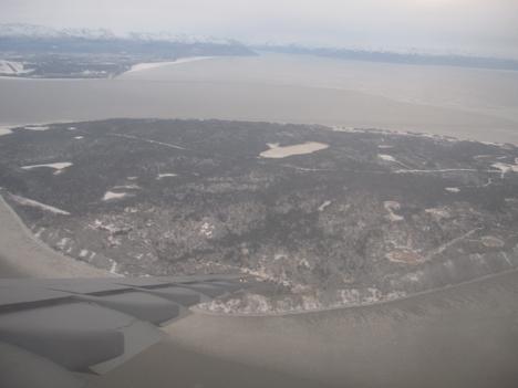 Descending into Elmendorf Air Force Base, near Anchorage, Alaska. Credit: NASA / Michael Starobin