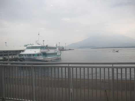 The view outside the ferry station of Mt. Sakurajima, an active volcano across the bay. Credit: NASA / Ellen Gray