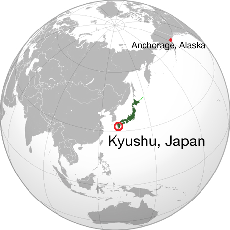 World map showing Kyushu, Japan and our layover location in Anchorage, Alaska. Credit: Wikipedia commons