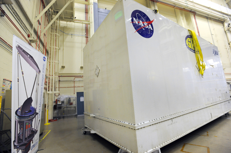The shipping container that will carry GPM to Japan. Comes complete with environmental regulation to keep the humidity and temperature just right for the spacecraft.