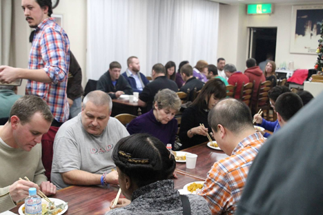 The GPM Thanksgiving was a full house. Credit: NASA / Michael Starobin