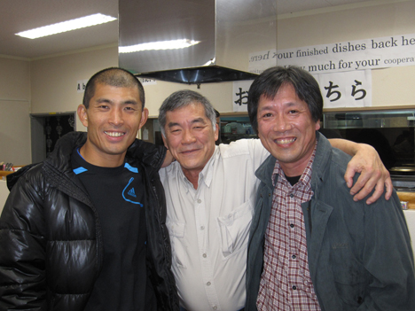 The turkey connection: Sakea Gushima (left), Lou Nagao (center), and Toshihiko Nakagawa (right).