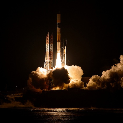 A Japanese H-IIA rocket with the NASA-Japan Aerospace Exploration Agency (JAXA), Global Precipitation Measurement (GPM) Core Observatory onboard, is seen launching from the Tanegashima Space Center, Friday, Feb. 28, 2014, Tanegashima, Japan. The GPM spacecraft will collect information that unifies data from an international network of existing and future satellites to map global rainfall and snowfall every three hours. Photo Credit: (NASA/Bill Ingalls)