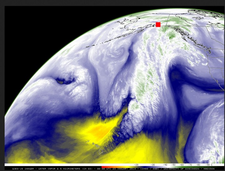 Figure 7. GOES-15 satellite image at 6.5 microns(a region of the thermal infrared that is absorbed by water vapor), portrayed as the temperature at the top of the water-vapor emitting region (clouds or humid air). Reds and yellows portray a very dry atmosphere, where emission of thermal infrared arises very deep in the atmosphere at high temperatures; blues indicate a moister atmosphere, and white and green an extremely moist atmosphere extending to very high altitudes having very low temperatures. The image was acquired 3:00 PM (local Alaska Time Zone) on 23 January 2014, the afternoon before the giant avalanche. A stream of extremely moist air arising in the northern Tropics—sometimes called the Pineapple Express—had been slamming into the Valdez and Keystone Canyon area (red square) for several days, thoroughly soaking the area. Valdez received over 11 inches of rain in the 12 days preceding the avalanche. Image rendered and made available by the Cooperative Institute for Meteorological Satellite Studies (CIMSS), University of Wisconsin – Madison, USA.