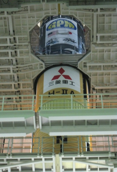 The H-IIA rocket that will carry the GPM Core Observatory into space. Here you can see the orange first stage and the silver second stage with the GPM logo on it. Jan. 20, Tanegashima Space Center. Credit: Mitsubishi Heavy Industries