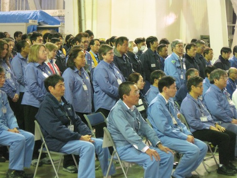 GPM team members lined up behind Lynette, seared in the front row on the right. Jan 20. Credit: Mitsubishi Heavy Industries