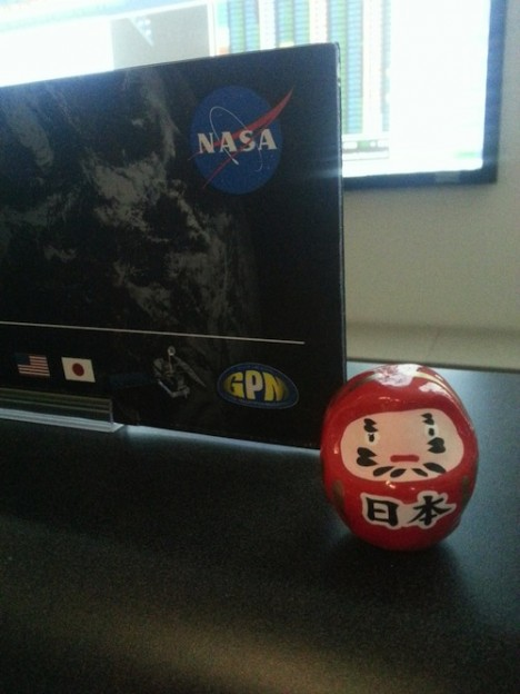 The Daruma doll in the Mission Operations Center at Goddard Space Flight Center in Maryland, the eye colored in post-solar array deploy. Credit: Eish Patel
