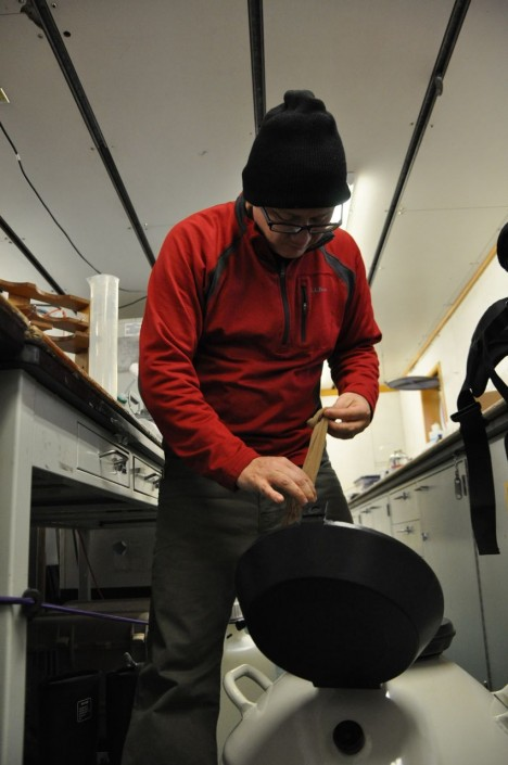 Joaquin Chaves preparing samples for storage
