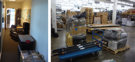 Gear packed at the office (left) and ready to leave the shipping facility at the University of Utah (right). We will see this gear again in Greenland!