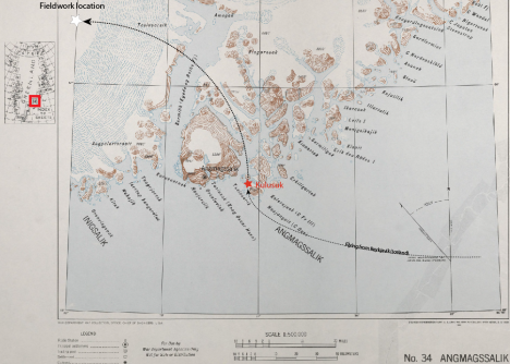 In this old map from the US army (from 1941) you can see the location of the small city of Kulusuk in Southeast Greenland (red star), just below the Arctic Circle (~66.5°N). Our field camp on the ice sheet is represented by a white star. The map can be found at the Polar Geospatial Center.