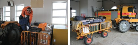 At the Kulusuk airport, Ludo moves equipment around to consolidate our cargo (left). Some equipment is ready to be loaded on the helicopter (right) to go to our field site, but other gear needs some repacking, which will be one of our main tasks for the coming days. (Credit: Clément Miège.)