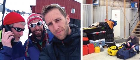 (Left) As weather-delay days continue to keep us in town, Rick calls the weather office to assess whether we can afford to spend more days waiting to be deployed on the ice sheet. (Right) The saddest moment of our campaign, when Rick had to remove his gear from our cargo because he wasn't coming with us to the field.