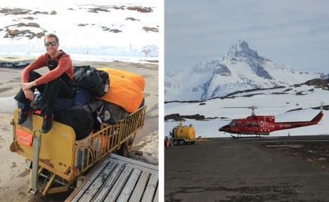 (Left) At the Tasiilaq heliport, Ludo waits for our put-in flight on the cargo. (Right) The Air Greenland B-212 helicopter with blue skies and high clouds. After 12 days of patiently waiting, it looks like it's a go!