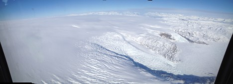 Getting closer to the ice sheet, flying over crevassed tributary glaciers.