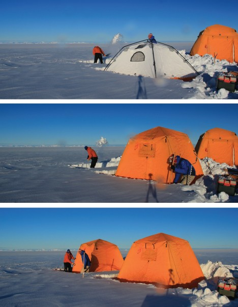 Minutes after the B-212 had left Clem and me on the ice sheet, we were already shoveling the fresh snow to install our cooking and sleeping tents before dark. This was no time for play, this was no time for fun, there was work to be done.