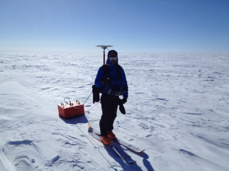 Two hours before being pulled out from the field, Clem was dragging the 200 MHz radar, and carrying a GPS unit.
