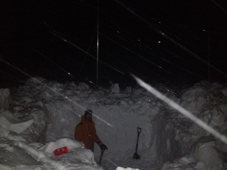 Ludo, inside a larger 2-meter-deep pit dug after dinner with easterly winds increasing as another coastal storm was coming bringing more snow. Our rationale was that the sooner we dug, the less snow we'd have to remove.