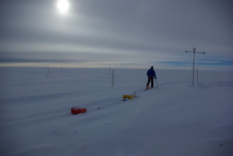 Clem uses an evening break in the weather to drag a low-frequency radar in the fresh snow deposited in the previous hours.