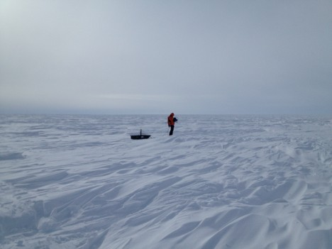 Clem dragging the 400 MHz radar over the sastrugis, a challenging surface to work with.