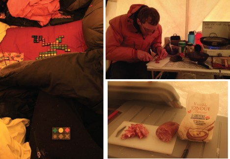 Indoor activities while the winds prevented us from working. (Left) Playing domino with mitts in a shaking tent, unforgettable times! (Right) Good food to keep us happy. Merci maman for thinking about us before leaving home.