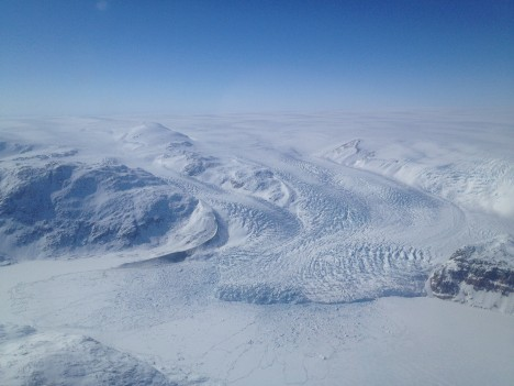 Last view of the ice sheet and glaciers.