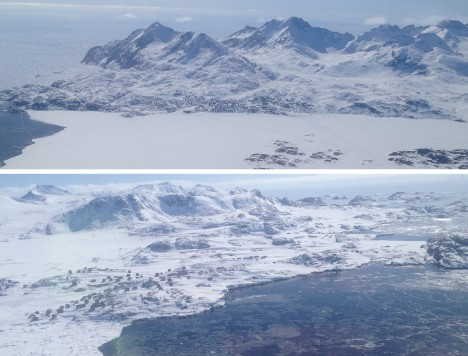 Forty minutes after leaving our camp, we see signs of life: a view of Tasiilaq (top) and Kulusuk (bottom), minutes before landing.