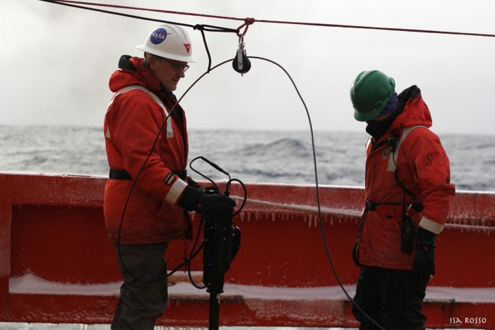 Joaquin and Scott preparing to deploy the radiometer Photo credit: Isabella Rosso